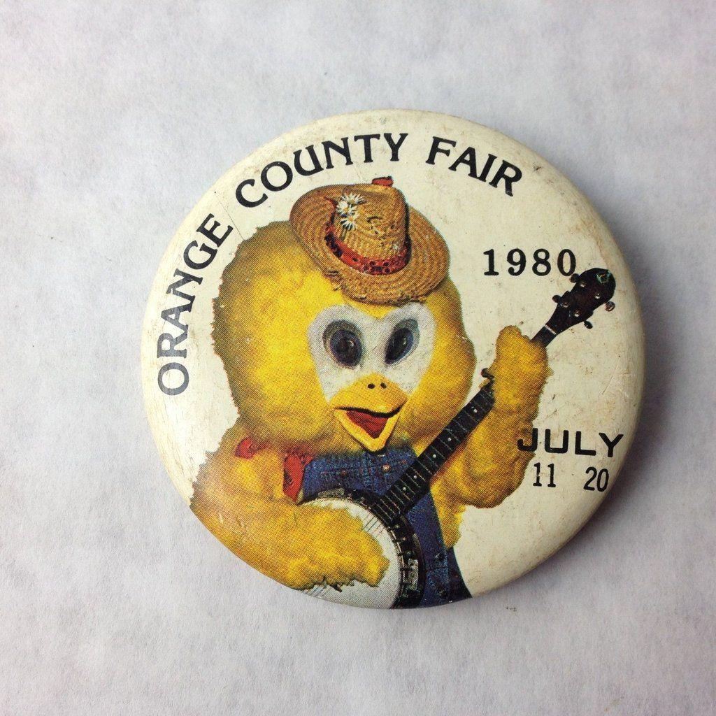 ORANGE COUNTY FAIR JULY  pinback button vintage California