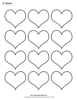 Heart template (many different sizes