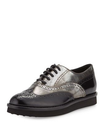 Two-Tone+Leather+Wing-Tip+Oxford+by+Tods+at+Bergdorf+Goodman.