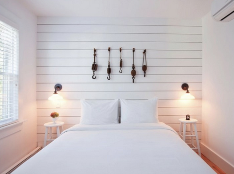 Shiplap Paneling On One Wall Of The Master Bedroom Lower