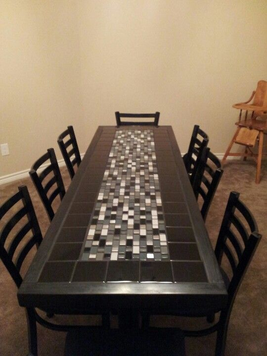 Our Refinished Table From Chilis Dining Room Table Makeover Tile Top Tables Tile Tables