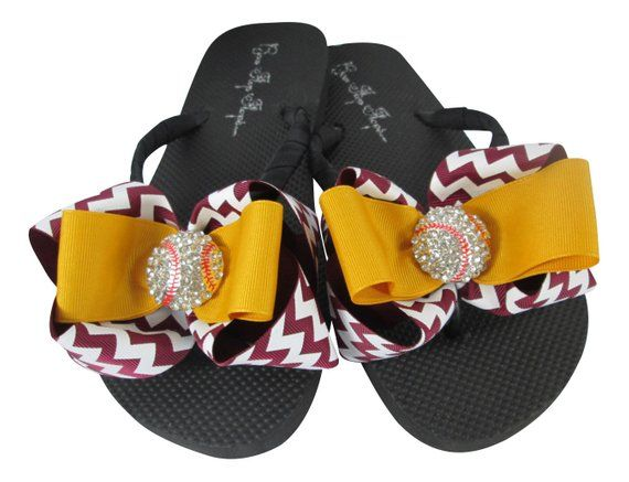 80e55e76300630 Maroon   Gold Chevron Baseball bow flip flop sandals with bling for ladies  and girls baseball