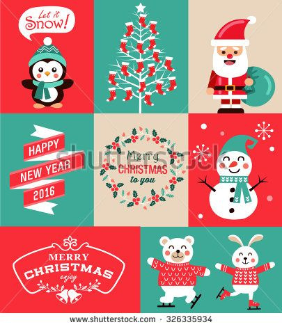 Vector Set Of Christmas Symbols Greeting Card Banner And Poster