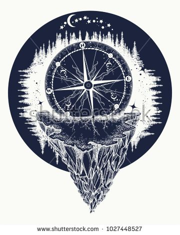 Compass And Mountains Tattoo And T Shirt Design Adventure Travel