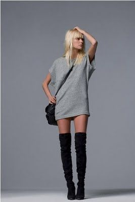 mini dress + over knee boots. Still my favorite winter wear for nights out