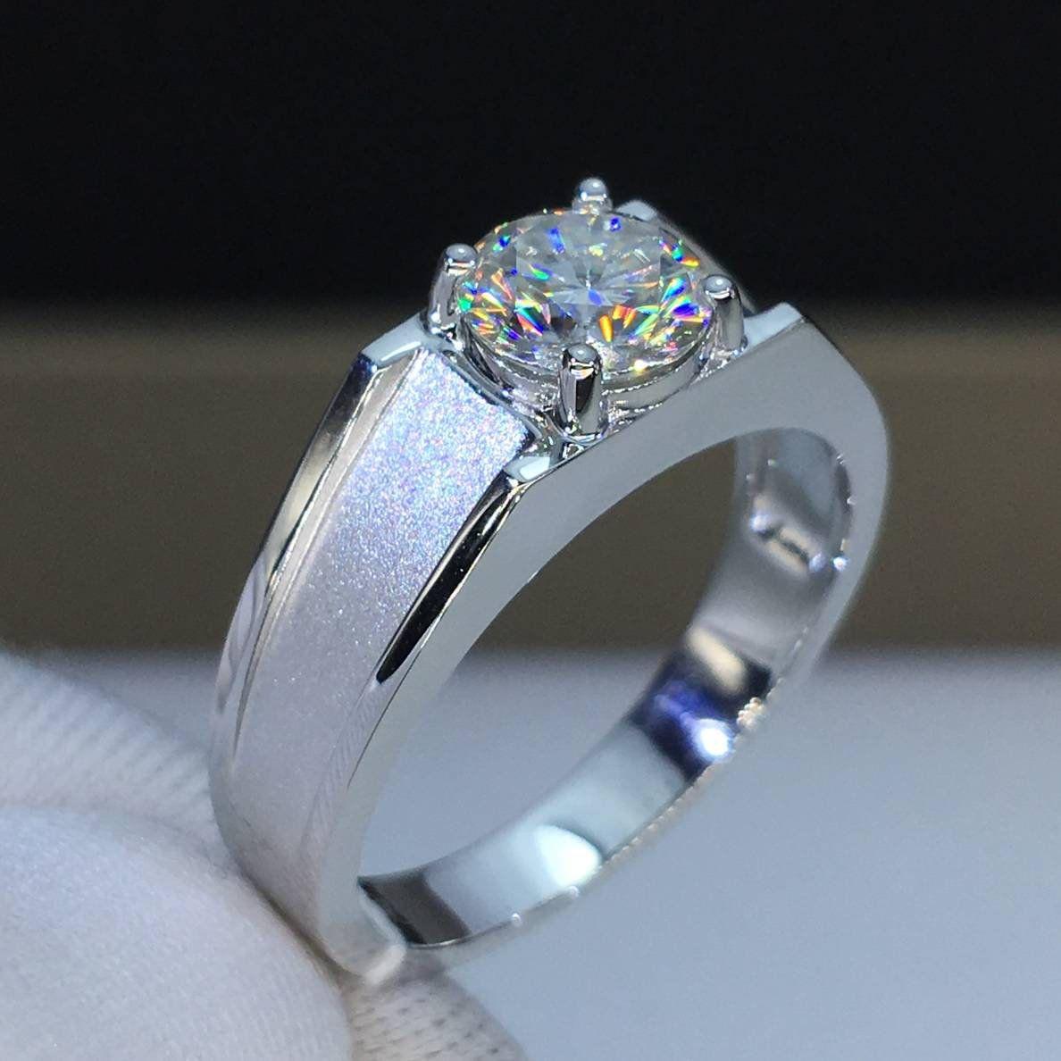 Moissanite Ring One Carat Colorless VVS1 14K 18K White