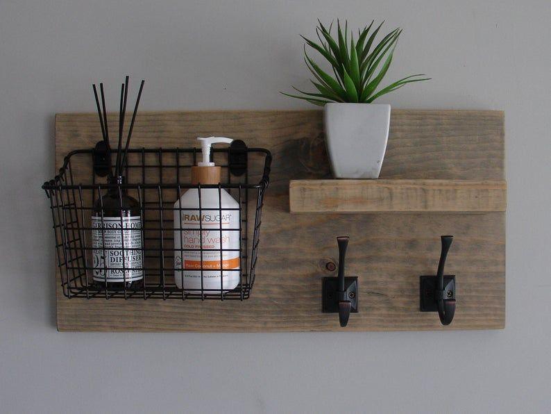 Photo of Rustic Bathroom Shelf with Storage Basket Floating Shelf and Towel Hooks