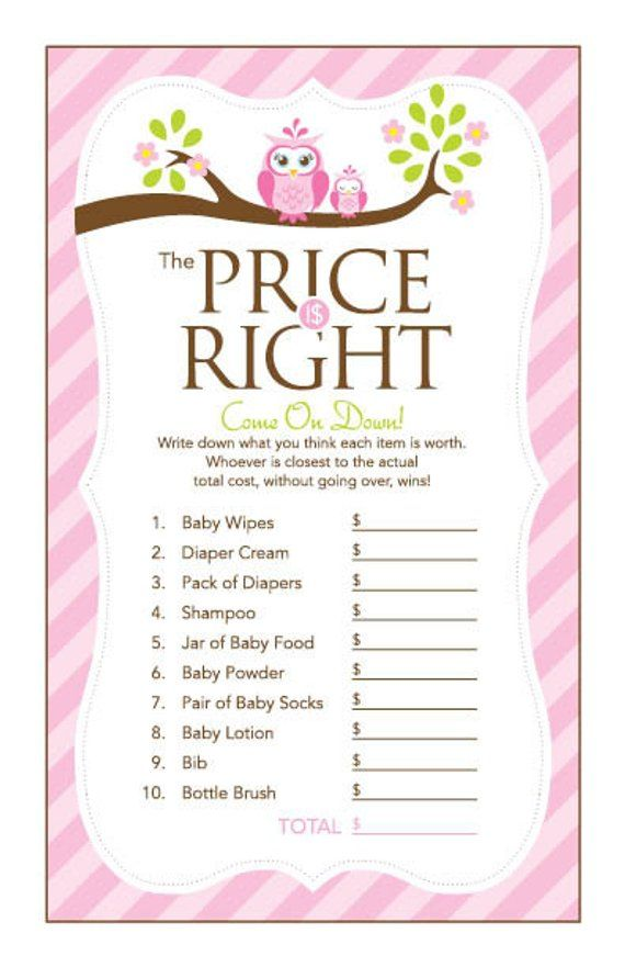 Pink Owl Baby Shower Games Pack 8 Printable Games