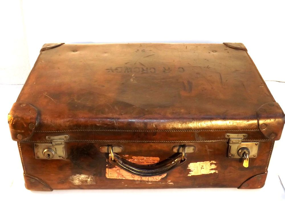 Antique Leather Suitcase with Labels-Inscribed C.R.Crowdy-British ...
