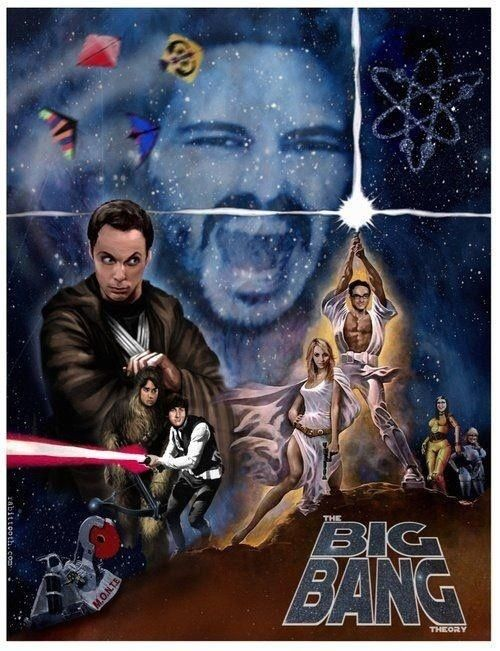 Big Bang Wars though perhaps Raj should be Luke, since he never gets the girl, and Leonard should be Han, since he ends up with Penny. Howard's then left to be Chewy to flirt with R2D2 (Bernie)