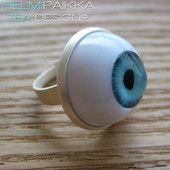 Sininen silmäsormus 10€ Iljettäviä Halloween koruja Helmipaikasta! #halloween