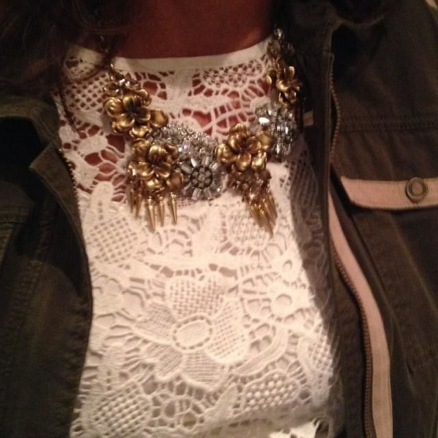 Vintage meets rock and roll when the Georgie statement necklace by Stella & Dot meets the Needle Lace Shell and Anorak jacket by CAbi! http://www.nickidavis.cabionline.com