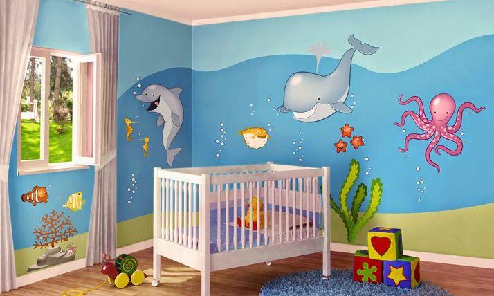 Dormitorio de bebé con stickers en 2020 | Cuartos para bebes ...