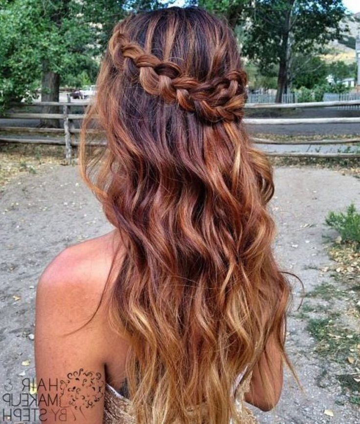 Women Hairstyle Prom Hairstyles Curly Down A Braided Hairstyle Intended For The Most Beautiful Braids Hairstyles With C Hair Styles Long Ombre Hair Hairstyle
