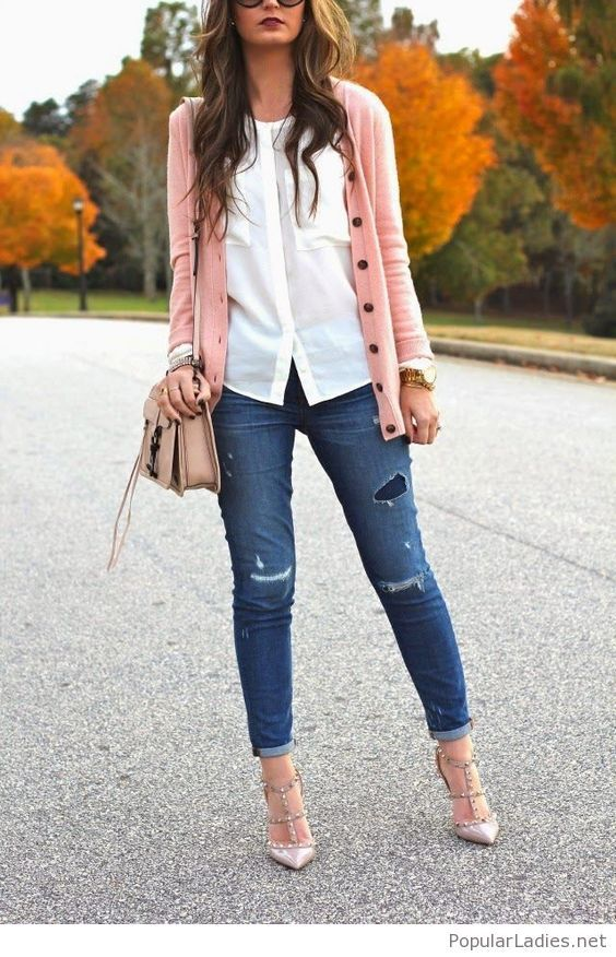 051e42688 Jeans, white shirt, rose cardigan and high heels in 2019 | My Style ...