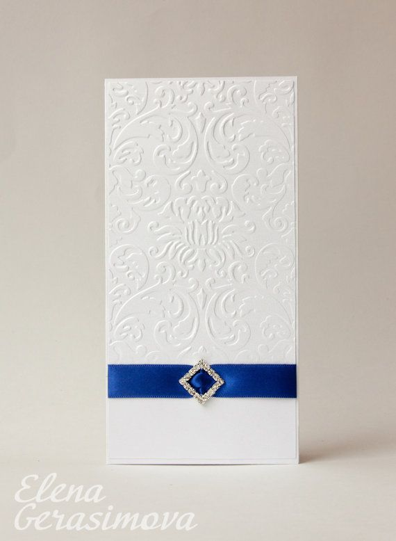 Wedding invitation White Ivory blue invitations embossed – Embossed Invitation Cards