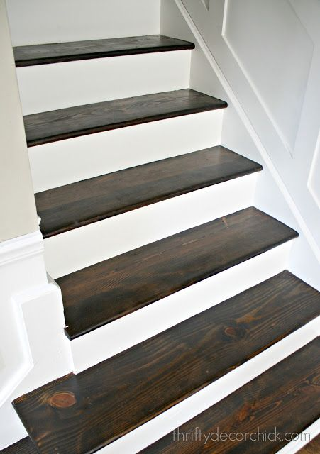 Wood And White Stair Makeover Stair Makeover Wood Floor Stairs   White Stairs With Wood Steps   Light Wood   White Riser   Outdoor   Dark   Traditional
