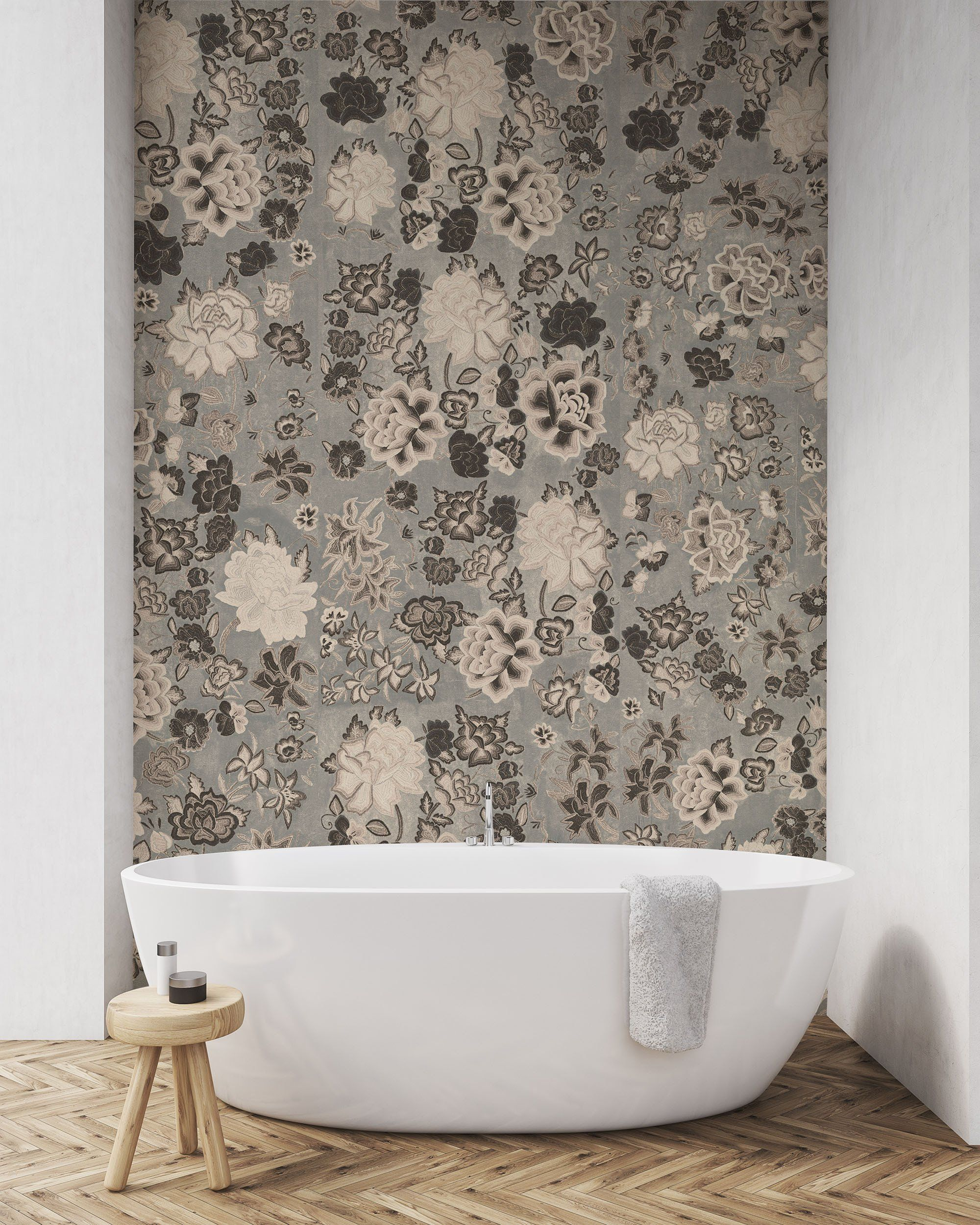 Frida Flowers Grey Wallpaper by WYNIL The timeless look of