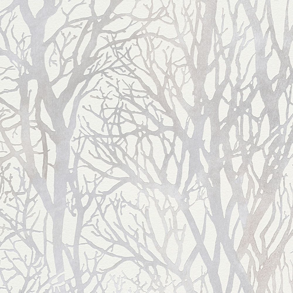 Tree Branches Wallpaper Dark Grey and Silver AS Creation