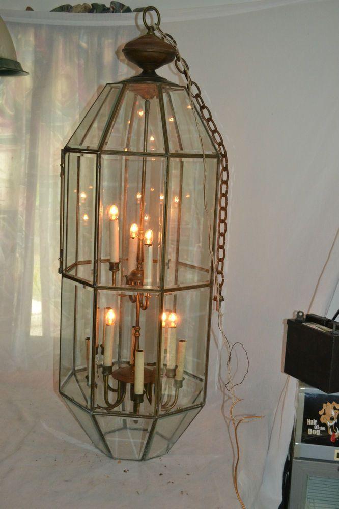 Huge Vtg Antique Brass 8 Sided Beveled Glass Hanging Chandelier
