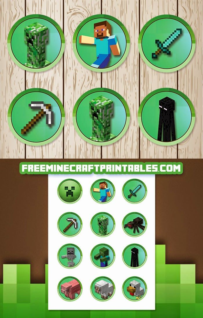 Resource image within printable minecraft cupcake toppers