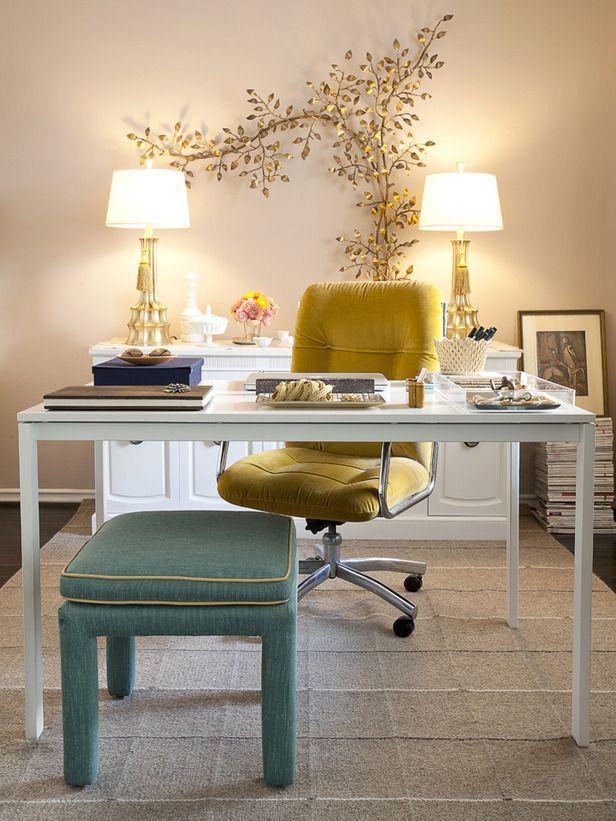 hgtv office design. Office And Workspace Designs: Small Minimalist Desk Home Design Ideas Yellow Chair Green Bench, Beautiful Men\u0027s Design, Hgtv R