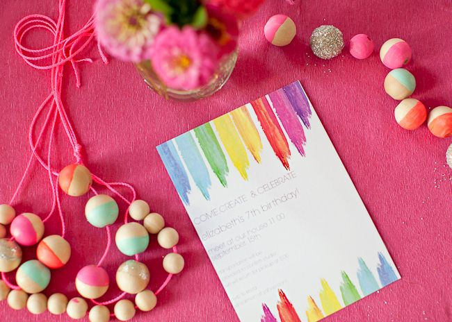 Come and Create! Hand paint the invites, chunky paint, printed wording. Come and Create meets You Are My Sunshine.