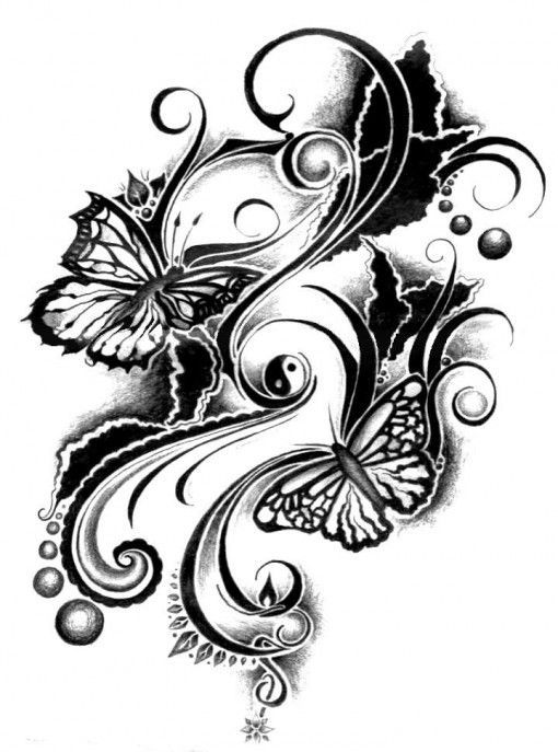 Simple Black And White Butterfly Tribal Tattoo Design Tattoo Ink