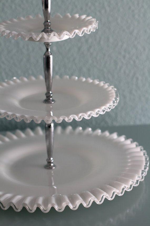 3tier Cake Stand Milk Glass Tiered Cupcake By Rochestudiovintage