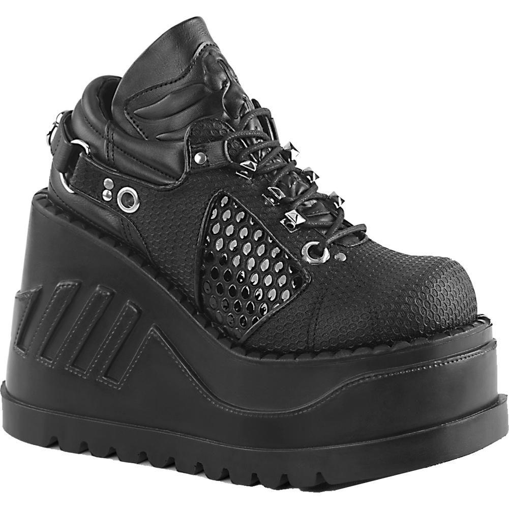 cefeb7421dfe Inked Boutique - Demonia STOMP-09 Wedge Platform Shoe Black Goth Nu Goth