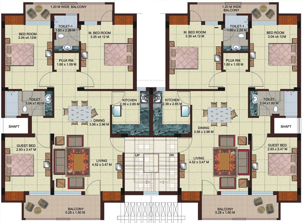 Multi unit 2 bedroom condo plans google search modern for Three bedroom apartment layout
