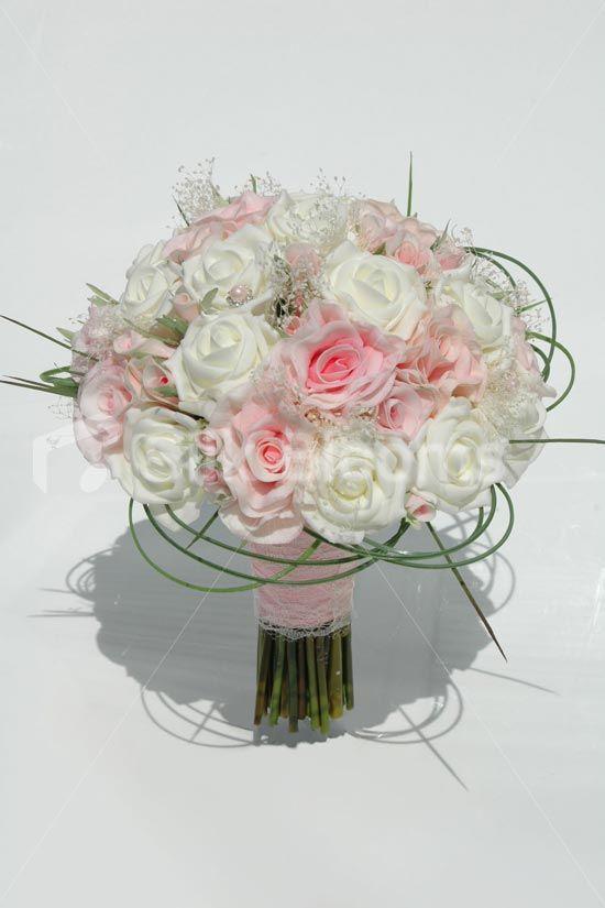 Pink Fresh Touch Rose Ivory Foam Bridal Wedding Bouquet