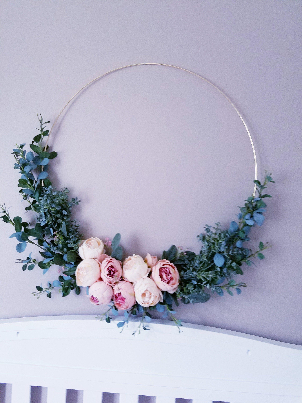 Photo of Nursery Hoop Wreath X Large, Peony Wreath, 27 Inch Wreath
