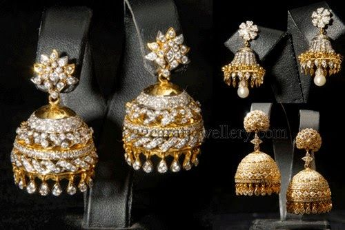 Jewellery Designs Indian Diamond Jhumkas Or Buttalu