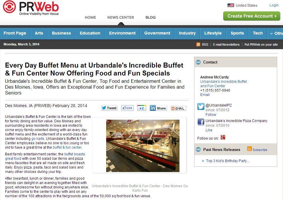 Every Day Buffet Menu at Urbandale's Incredible Buffet