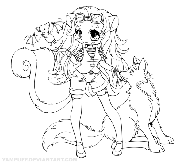 Skunk Girl With Wolf And Bat Lineart Commission Chibi Coloring Pages Animal Coloring Pages Dog Line Art