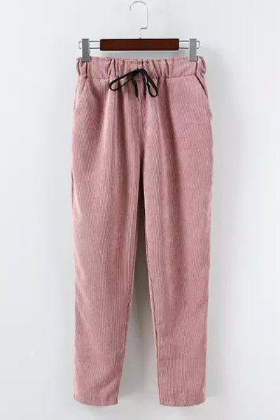 Casual Drawstring Corduroy Pants For Women Khaki Pants 67216b5c43