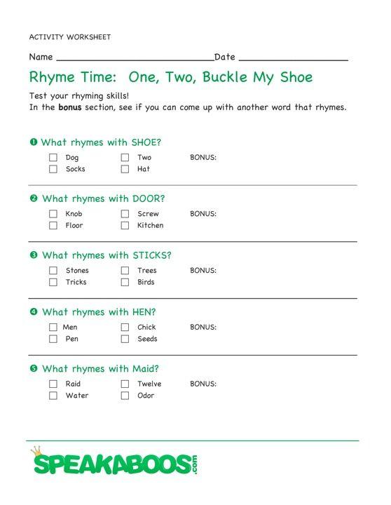 Rhyme Time One Two Buckle My Shoe Speakaboos Worksheets Rhyming Words Rhymes Nursery Rhymes
