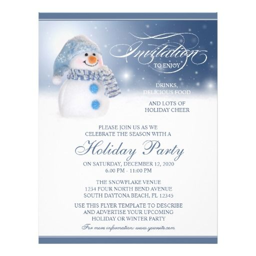 Snowman Holiday, Winter Or Christmas Party Flyer holiday invite