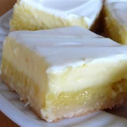 Cheesecake Lemon Bars--Click on the recipe title to get to the recipe. Do these not look luscious or what? I am going to dream about this picture tonight:) I just adore food. haha.