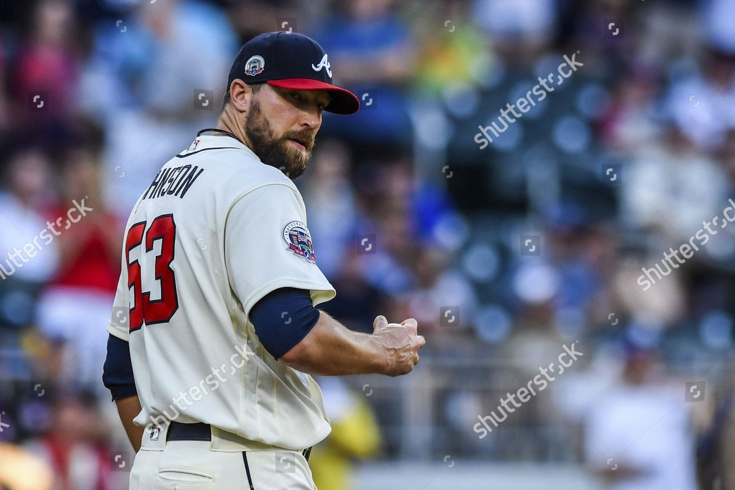 See This Editorial Stock Photo Atlanta Braves Relief Pitcher Jim Johnson Looks And Similar Pictures Access Millions Of Edit Atlanta Braves Braves Atlanta Usa