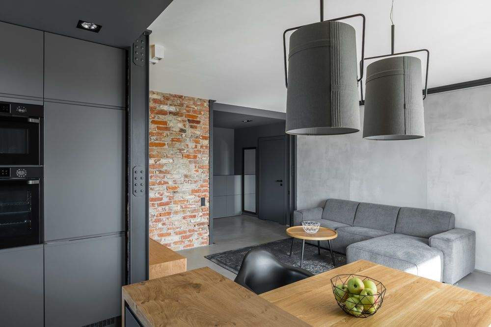 Salon Z Aneksem Kuchennym Market Budowlano Wykonczeniowy Mrowka Jaroslaw Open Kitchen And Living Room House Interior Home