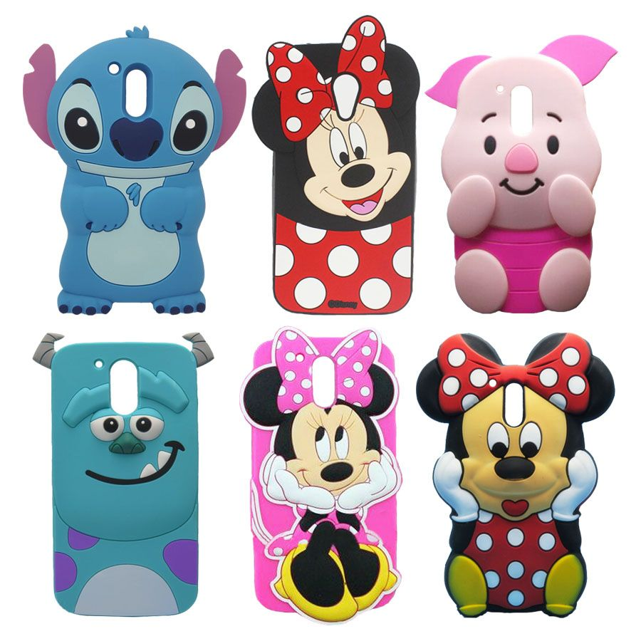 1ff713306dc For Motorola Moto G4 Plus Case 3D Cartoon Silicone Sulley Stitch Pig Minnie  Mouse Mobile Phone Cases Cover For Moto G4 G4 Plus