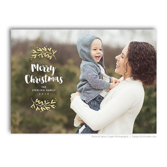 Holiday Photo Card Photoshop Template - 7x5 Horizontal Card - For ...