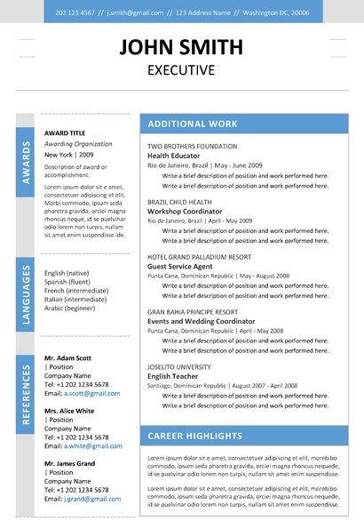 ExecutiveResumeBluePgJpg   Resume    Coats