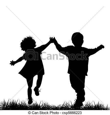 Vector - Children running - stock illustration, royalty ...