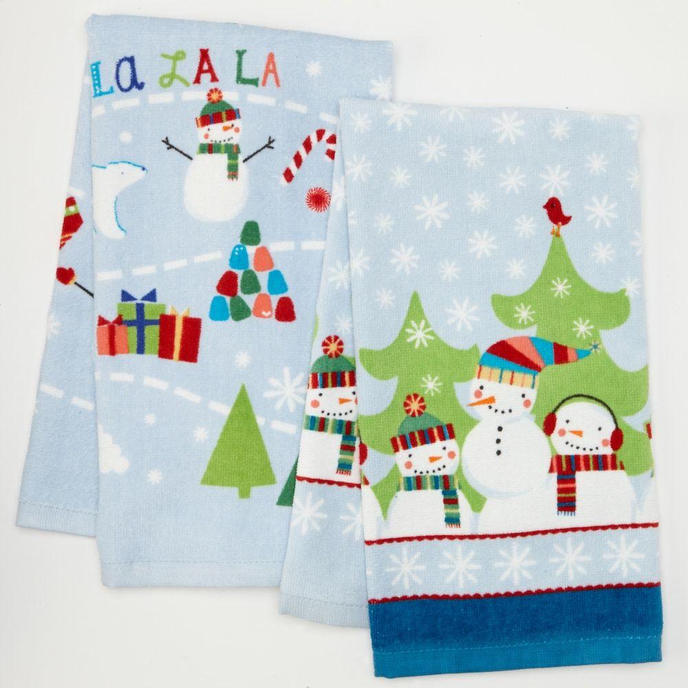St Nicholas Square Christmas Snowman Family 2 Pk Kitchen Towels