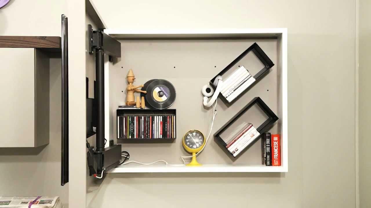 Porta tv contenitore RACK BOX - pannello porta tv orientabile