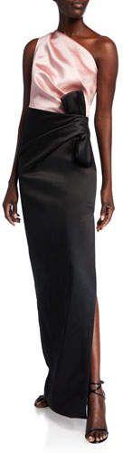 St. John Collection Bonded Duchess Satin One-Shoulder Gown #duchesssatin