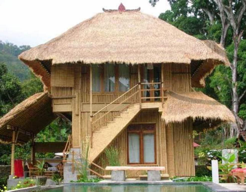 minimalist bamboo house design and floor plan with thatched roof and